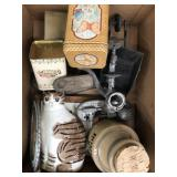 Box of containers, cat decor, grinder etc