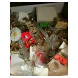 Box of decorative pieces etc