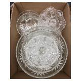 Box of fancy glass bowls