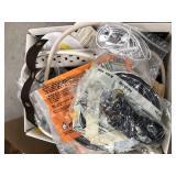 Box of misc cords, glue gun, earphones