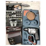 Box of misc tools, black & decker drill kit, tap