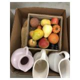 Box of Pottery, decorative fruit