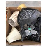 Box of misc, fan, decorative goose, lamps