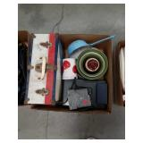 Box of vintage case, misc pottery bowls