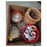Box of cookie cutters, glass, colanders