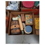 Box of canisters boxes and small barrel