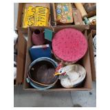 Box of wooden buckets and rooster dish