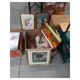 Box of vintage pictures and trays