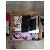 Box of dolls, handbags, picture frame