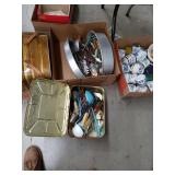 Box of tins with contents kitchen canisters