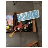 Box of lunch sign and miscellaneous
