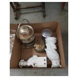 Box of brass, sil.plat.,porcelain etc