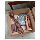 Box of wood carvings, Jap section dish etc