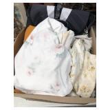Box of linen & gym bag
