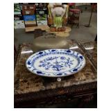 Antique blue onion warm plate