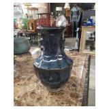 Asian blue pottery vase