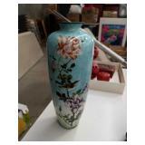 Floral cloisonne vase