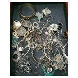Box of sterling silver jewelry