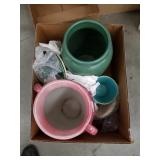 Box of pottery vases