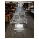 Lot of 4 patio lounges and one small patio table