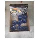 Box of blue  beer  mugs