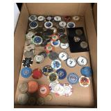 Box of misc casino chips