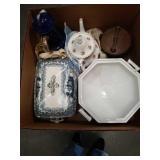Box of porcelain pcs/tea pots etc