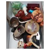 Box of miscellaneous/studio art glass vase etc