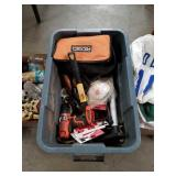 Tub of tools and garage items