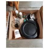 Box of wooden plates and miscellaneous