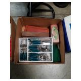 Box of flatware and miscellaneous