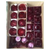 Box of red tea light holders, candle holders