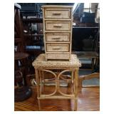 2pc rattan jewelry chest,stand