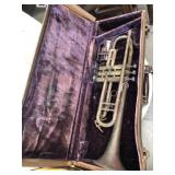 Vintage trumpet in case
