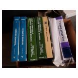 Box of auto repair manuals and printer paper