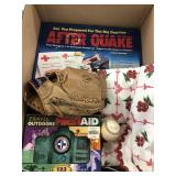 Box with after quake emergency kit, first aid