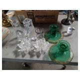Box of crystal candle holders sharosky and other