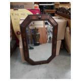 Antique mahogany beveled edge wall mirror
