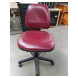 Burgundy armless office chair