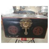 Asian painted wood box