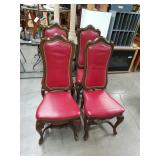 Lot of 4 high back leather dining chairs