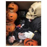Box of Halloween decorations