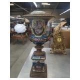 "Hand painted urn 23"" h approx"