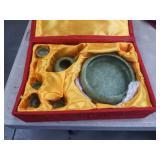 Green stone asian tea set