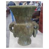 Lg Asian Green stone vase as is