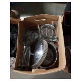 Box of glasses and metal pot