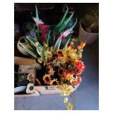 Box of artificial plants and flowers