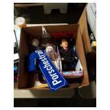 Box of signed baseballs and George Bush doll