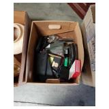 Box of office supplies and miscellaneous