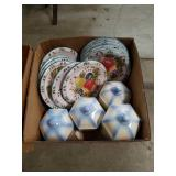Box of fruit pattern dishes and canisters